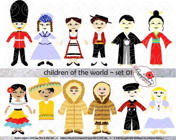 Children Of The World Set 01 Digital Clip Art: England Italy