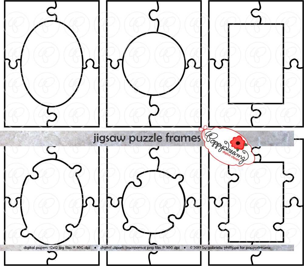 Jigsaw Glasses Frame : Jigsaw Puzzle Frames Template PDF and Clipart SET: 300 dpi