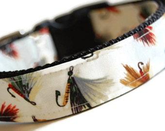 Custom Dog Collar - Fly Fisher Collar - Dog Collar with Flys - Fisherman's Dog Collar - Fly Fishing Collar - Outdoor Dog Collar