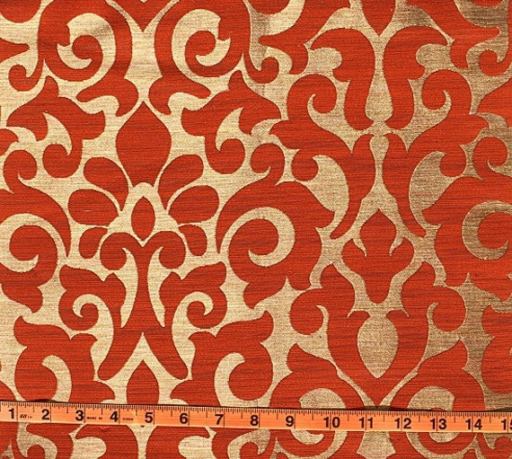 Custom Curtains With Burnt Orange / Gold Damask Pattern One
