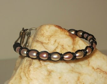 Spanish Knot (Snake Weave), Pink Freshwater Pearls & Black Leather Cord Bracelet