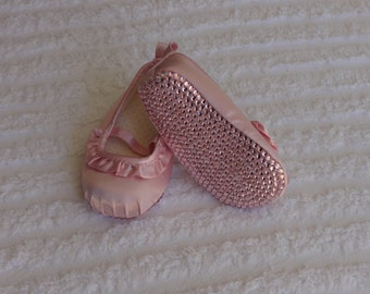 Baby Girls Pink Satin Ruffled Rhinestone Bling Shoes with Authetic Crystals