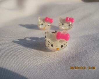 Kitty Earring and Ring Youth Set