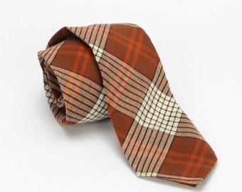 Plaid Skinny Necktie Brown and Orange