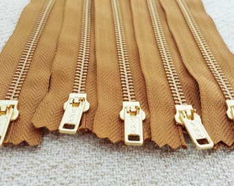 12inch - Chestnut Brown Metal Zipper - Gold Teeth - 5pcs