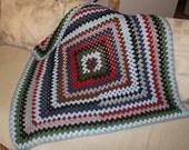 Crochet Lap Afghan, Zig Zag, Stripes of Scrap Yarn