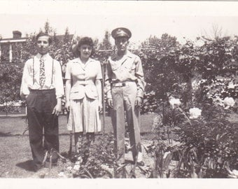 Soldier With Family - Vintage Photograph, Vernacular, Black and White (NN)