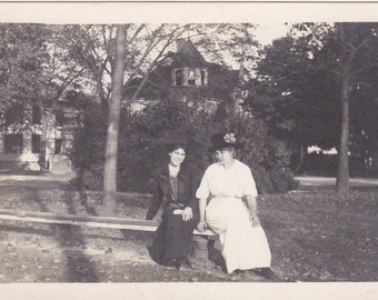 Ladies on a Bench - Vintage Photograph, Vernacular, Found Photo, Ephemera  (HHH)