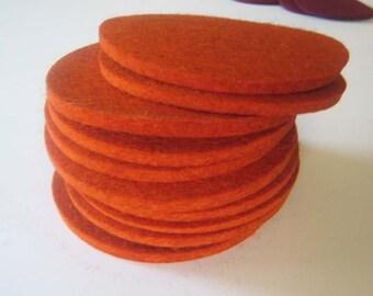One Dozen Industrial Felt Coasters Pumpkin, Burnt Orange Drink Coasters