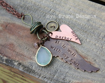 The Kim - It is well with my soul, with personalized copper heart , vintage style aqua green and gold pear drop on turquoise treated knot
