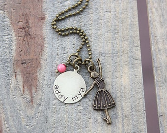 Little girl Antique gold ballerina design #2, personalized name or word circle and bright pink bead