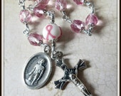 Pink Ribbon St. Peregrine Rosary for Breast Cancer, Single Decade Pocket Cancer Rosary
