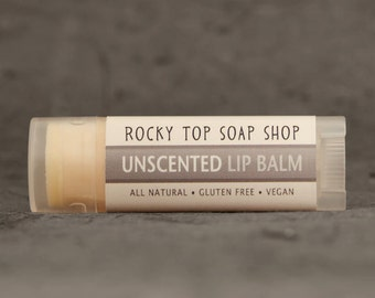 Unscented Lip Balm - All Natural, Vegan, Gluten Free
