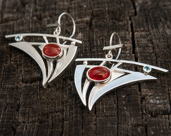 Carnelian and blue topaz sterling silver earrings