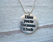I love you to the moon necklace, mother daughter jewelry, daughter necklace, inspirational jewelry, recycled silver