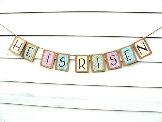 HE IS RISEN Easter Banner Rustic Kraft Banner by ...