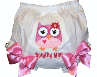 Personalized Owl Girly & Pink Baby Girl  Bloomers, Diaper Cover