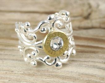 Bullet Ring / Silver Filigree Bullet Ring WIN-#-B/N-FILR / Custom Ring / Filigree Ring / Silver Filigree Ring / Silver Bullet Ring