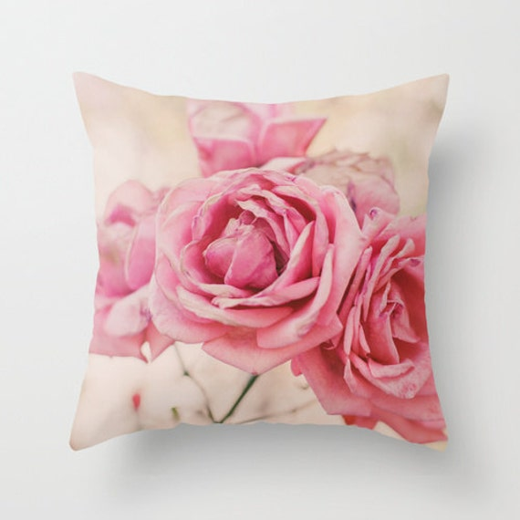 Decorative Pillow Pink : Items similar to Pillow Cover, Pink Pillow, Throw Pillow, Pink Roses, Living-Room Pillow, 16x16 ...
