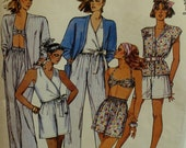 "Beach Wear Pattern, Plus Size, Wrap Top, Bandeau Bra, Shorts, Pants, Unlined Jacket, McCalls No.4310 UNCUT Size 18 20(Bust 40-42"" 102-107cm)"