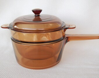 Vintage Visions by Corning Double Boiler Vintage Amber 1.5 L base and 2 L insert with Cover Stovetop, Microwave, Oven Bean Pot