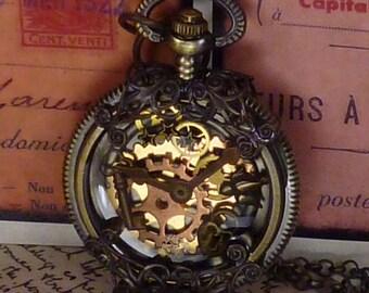 Isabella's Victorian Rail Chief Steampunk pocket watch pendant PW071