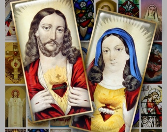 1x2 inch SACRED HEART Digital Printable Domino  collage sheet for Pendants Magnets Crafts...Jesus Mary Burning Hearts