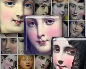 "Digital 1.5"" Small Faces Squares for Instant Download - Vintage Femmes, Victorian Beauties"