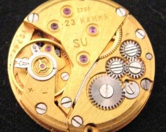 a lot of 10 men's yellow gold plated CIRCULAR 22mm watch movements steampunk art jewelry supplies DIY parts cufflinks SteampunkSupplies4U