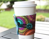 Modern Fabric Coffee Cozy / Drink Sleeve - Coffee Holder -Java Jacket - Aurora Borealis by Michael Miller Funky Circles - Cup Cover