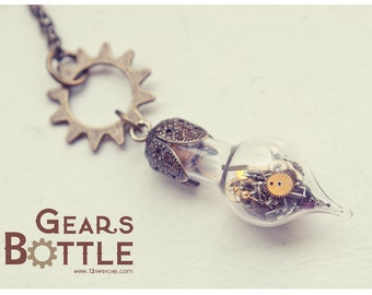 Steampunk vial necklace, Gears bottle necklace, Steampunk bottle charm pendant, Steampunk jewelry cute, Inspirational Gift for women