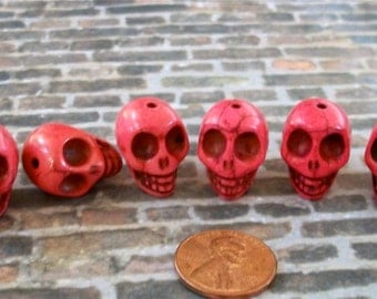 Deep Rosy Pink Skull Stone Beads
