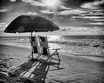 Beach Chairs and Umbrella in Myrtle Beach, South Carolina - Fine Art Photograph 5x7 8x10 11x14 16x20 24x30