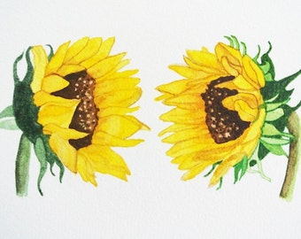 Sunflower home decor, watercolor painting print, nature art, yellow green, matted 8x10, two sunflowers having a conversation