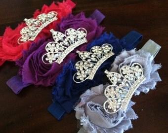 Baby Crown headband, Flower Tiara, Rhinestone Baby Headband, Shabby Flower Headband, Tiara Headband