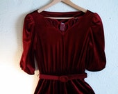 vintage valentines wine red burgandy velvet party cocktail dress