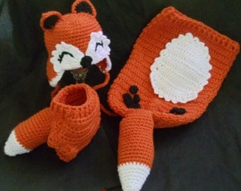 Fox hat, cocoon and diaper cover set/ attention photographers
