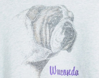 Vintage 80s/90s Pullover Grey  Sweatshirt  With Bull Dog Face and Wauconda On Front Unisex
