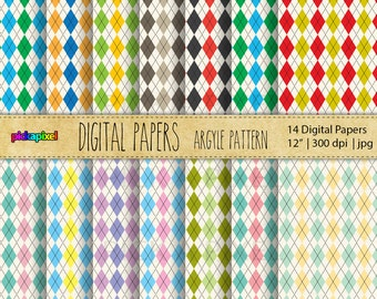Argyle Pattern - Personal and Commercial Use - Digital papers