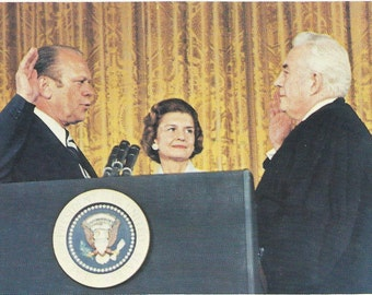 President Ford, Sworn in as the 35th President of thr USA, 1974, Nanas Vintage Shop on Etsy