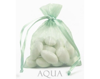 30 Aqua Blue-Green Organza Bags, 4 x 6 Inch Sheer Fabric Favor Bags, For Wedding Favors, Jewelry Pouches