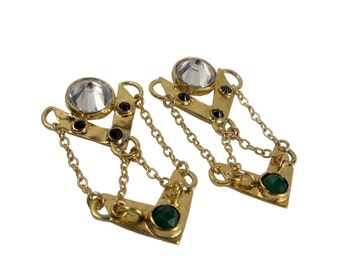 GENEVIEVE Inverted Diamonds and Emerald Gold Chain Earings