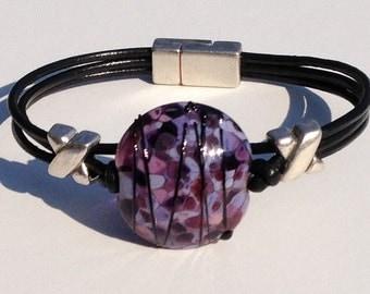 Purple and Black Lampwork Leather Bracelet