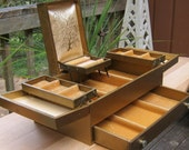 Large Vintage Gold Finish Fold Out Jewelry Box