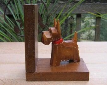 Wooden Scotty Dog Bookend Child Room Nursery Wood Scottie - Oak Hill Vintage