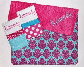 PERSONALIZED Baby Girl Blanket PLUS 2 Personalized Burp Cloth Set in Pink and Aqua - Damask and Polka Dots