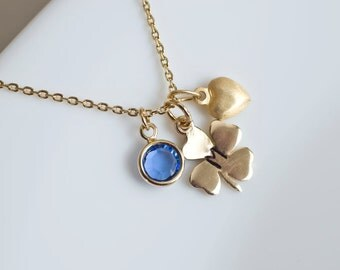 Initial Necklace, Birthstone Initial Necklace, Personalized Four Leaf Clover Necklace, Lucky Necklace, Love Heart Necklace,Shamrock Necklace