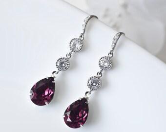 Amethyst Earrings, Bridesmaids  Purple Amethyst Swarovski Teardrop and Cubic Zirconia Earrings, Wedding Jewelry, Dangle Earrings