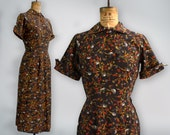 vintage 1940s dress / 40s cotton dress / asian print dress small