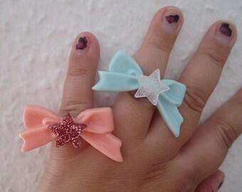 SANRIO Style Rings - Set of 2, Little Twin Stars Bow Rings - KIKI & LALA - Adjustable Rings - Kawaii